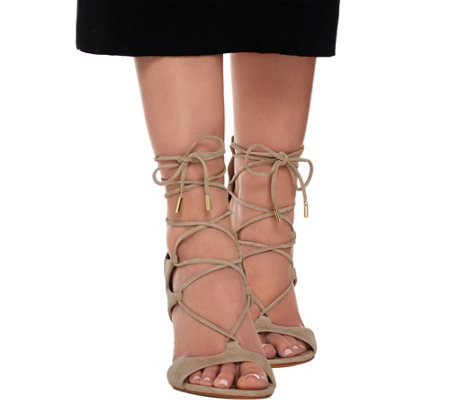 Marc Fisher Suede Lace-up Sandal Pumps - Benete