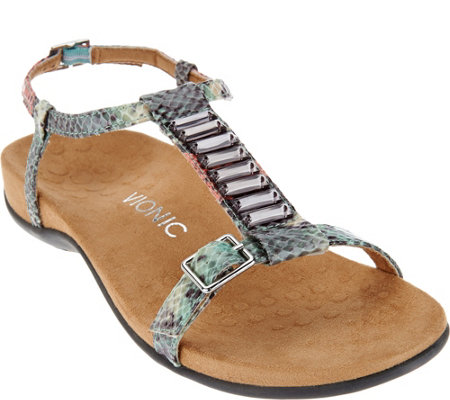 Vionic Orthotic Embellished T-strap Sandals - Navassa