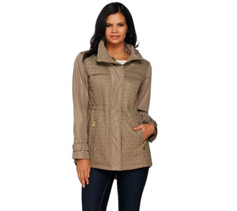 """As Is"" Susan Graver Quilted Jacket with Hi-Low Hem - A277403"