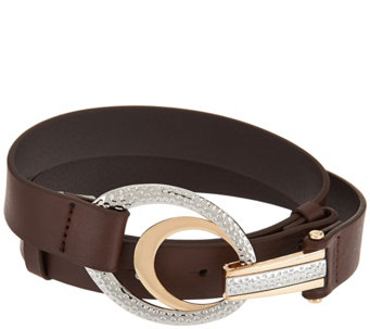 Susan Graver Adjustable Belt with Oval Textured Buckle - A279803