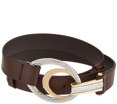 Susan Graver Adjustable Belt with Oval Textured Buckle