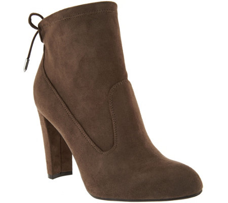 Marc Fisher Faux-Suede Ankle Boots with Tie Back - Justice