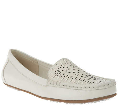 """As Is"" Isaac Mizrahi Live! Perforated Leather Moccasins"