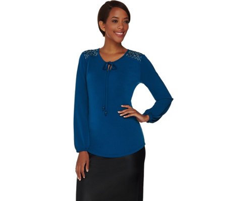 Susan Graver Artisan Liquid Knit Keyhole Top with Ties