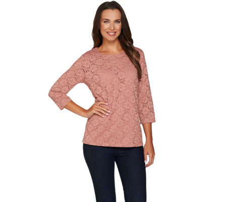 Denim & Co. 3/4 Sleeve Round Neck Lace Top with Jersey Tank