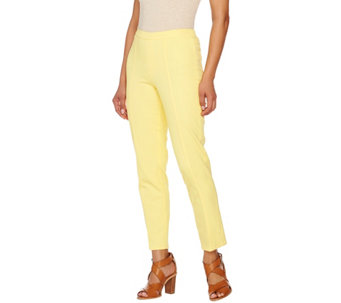 """As Is"" Isaac Mizrahi Live! Regular 24/7 Stretch Ankle Pants w/ Seam - A283103"