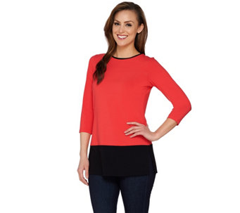 """As Is"" Susan Graver Dolce Knit Colorblock 3/4 Sleeve Tunic - A283603"