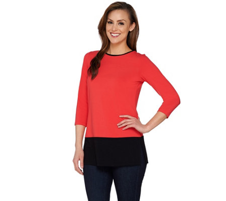 """As Is"" Susan Graver Dolce Knit Colorblock 3/4 Sleeve Tunic"
