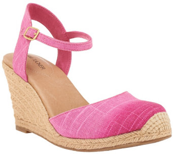 """As Is"" Adam Tucker Ankle Strap Espadrille Wedges - A284403"