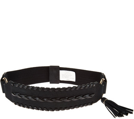 Susan Graver Stretch Belt with Faux Leather and Tassel