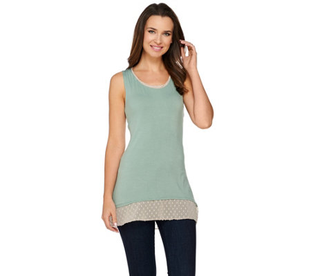 """As Is"" LOGO by Lori Goldstein Knit Tank with Swiss Dot Trim at Hem and Neck"