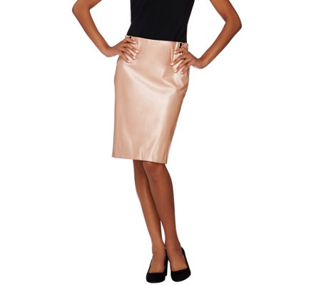 """As Is"" G.I.L.I. Petite Faux Leather Pencil Skirt with Zipper"