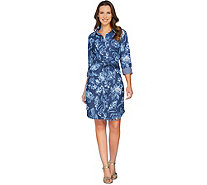 Isaac Mizrahi Live! TRUE DENIM Floral Print Shirtdress - A287103
