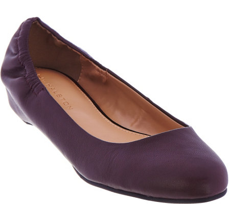 """As Is"" H by Halston Leather Slip-on Flats w/Hidden Wedge Stephanie"
