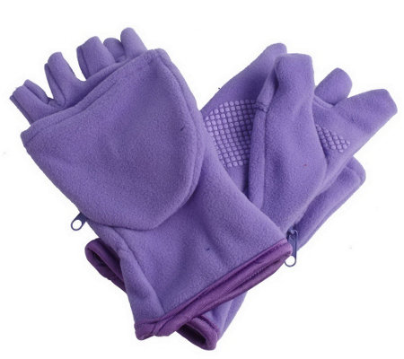 """As Is"" Multi-Mitt 4-Way Stretch Fleece Glove w/ Zip Compartment"