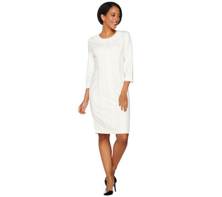 Dennis Basso Caviar Crepe 3/4 Sleeve Knit Dress with Lace Trim