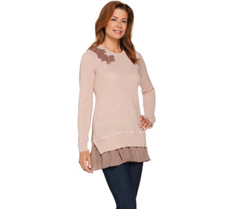"""As Is"" LOGO Lavish by Lori Goldstein Waffle Knit Sweater - A292103"