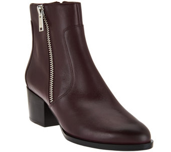 """As Is"" Marc Fisher Leather Zipper Ankle Boots - Blur - A293403"