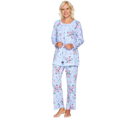 Carole Hochman Cotton Jersey Floral Twin Print 3 Pc Pajama Set