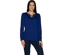 Quacker Factory Rhinestone Grommet Lace Up Knit T-shirt - A299503