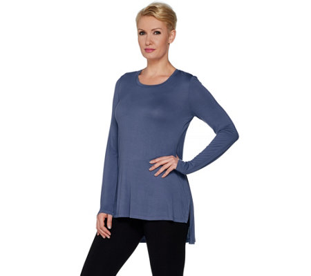 LOGO Layers by Lori Goldstein Solid Knit Top with Hi-Low Hemline