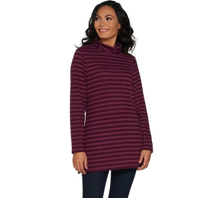 Denim & Co. Brushed Heavenly Jersey Striped Mock Neck Tunic