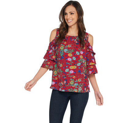 Linea by Louis Dell'Olio Wild Flower Cold Shoulder Top