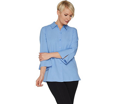 Denim & Co. Woven Button Front Shirt with Flared Sleeves - A303103