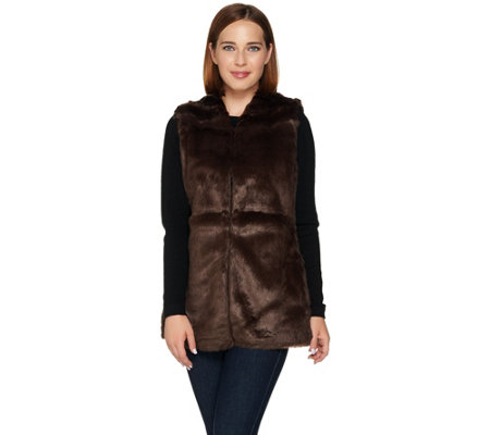 """As Is"" C. Wonder Faux Fur Vest with Printed Lining"