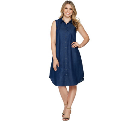 """As Is"" Joan Rivers Sleeveless Denim Shirt Dress"