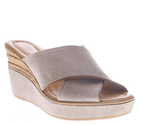 Azura by Spring Step Leather Wedge Slide Sandals - Vampiano