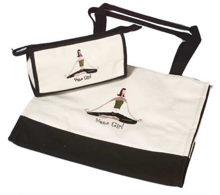 """The Girls"" Yoga Girl Canvas Tote Bag w/Cosmetic Bag"