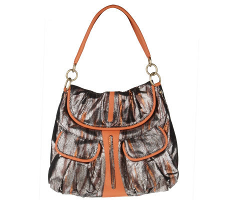 Malini Murjani Eel Print with Nappa Leather Trim Shoulder Bag