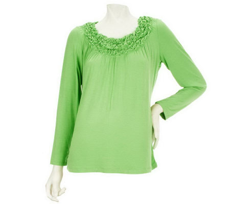 Susan Graver Stretch Knit Top with Smocked Neckline