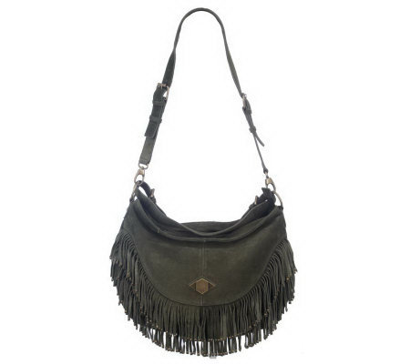 Luxe Rachel Zoe Suede Shoulder Bag with Fringe
