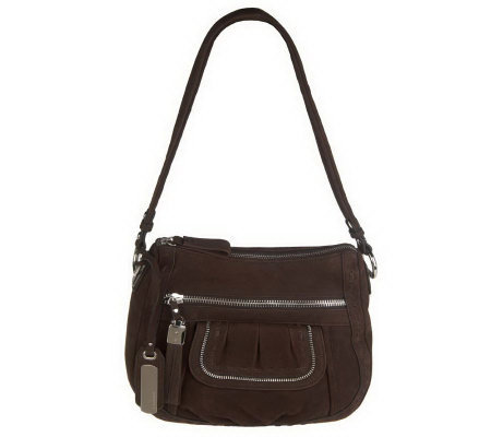 B. Makowsky Nubuck Leather Zip Top Shoulder Bag w/Front Pocket