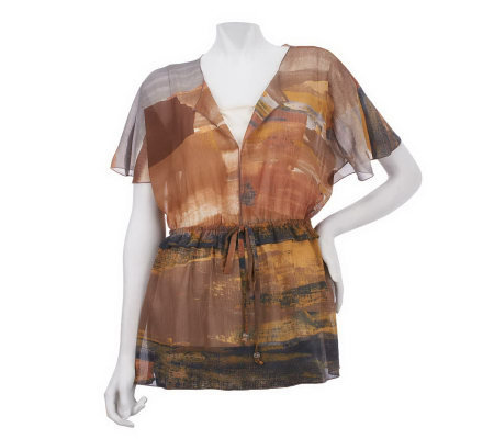 Kelly by Clinton Kelly Printed Scarf Top with Waist Detail