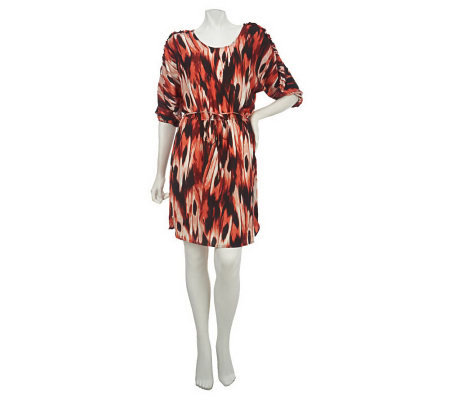 Lisa Rinna Collection Printed Dress with Waist Tie Detail