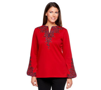 Bob Mackie's Embroidered Bombay Tunic - A2304