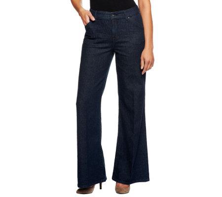 Edge by Jen Rade Wide Leg Denim Trouser Pants - Page 1 — QVC.com