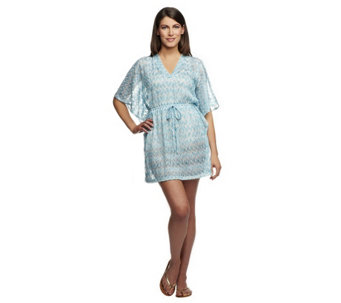 Make a Splash Flamestitch V-neck Coverup with Drawstring - A232404