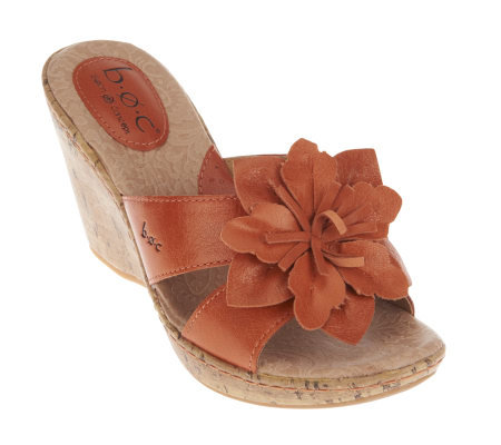 B.O.C. by Born Fortune Leather Slide Wedge Sandals with Flowers