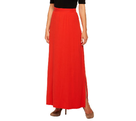 Isaac Mizrahi Live Petite Knit Maxi Skirt with Side Slits