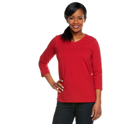 """As Is"" Denim & Co. Essentials Stretch 3/4 Sleeve V-neck Top"
