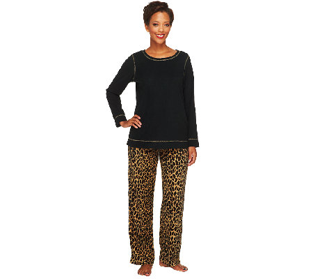 Stan Herman Petite Novelty Print Micro Fleece 2-Pc Lounge Set