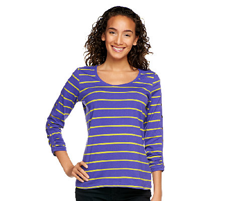 Susan Graver Weekend Stretch Cotton Top with Snap Detail