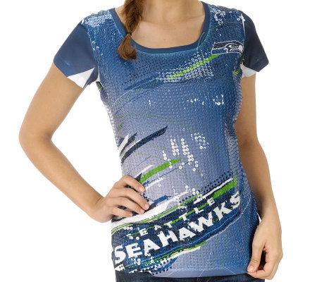 Nfl Seahawks Women 39 S Sublimated Sequin T Shirt
