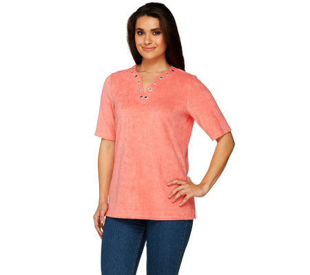 Quacker Factory Grommet Neck Elbow Sleeve Knit Terry Top