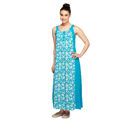 Carole Hochman Sunset Blossoms Printed Inset Tank Gown