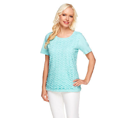 Denim & Co. Perfect Jersey Lace Front Short Sleeve Knit Top